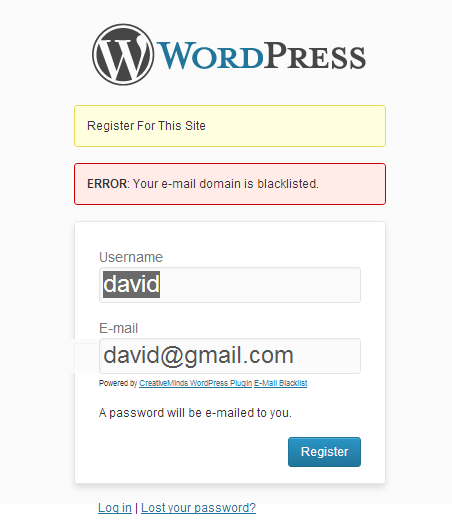 Cm WordPress Email Blacklist Registration Error Message Example